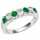 JEM184/9W - 9ct white gold 7 stone emerald and diamond eternity ring