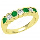 JEM184/9Y - 9ct yellow gold 7 stone emerald and diamond eternity ring