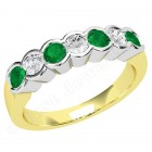 JEM184/9YW - 9ct yellow and white gold 7 stone emerald and diamond eternity ring