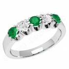JEM241W-18ct white gold emerald and diamond 5 stone eternity ring