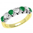 JEM244YW - 18ct yellow and white gold 7 stone emerald and diamond eternity ring