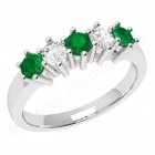 JEM248/9W - 9ct white gold 5 stone emerald and diamond eternity ring