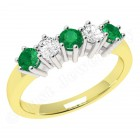 JEM248/9YW - 9ct yellow and white gold 5 stone emerald and diamond eternity ring