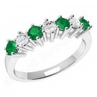 JEM253/9W - 9ct white gold 7 stone emerald and diamond eternity ring
