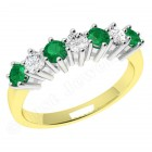 JEM253/9YW - 9ct yellow and white gold 7 stone emerald and diamond eternity ring