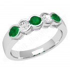 JEM278/9W - 9ct white gold 5 stone emerald and diamond eternity ring
