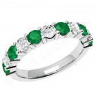 JEM302W - 18ct white gold 11 stone emerald and diamond eternity ring