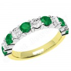 JEM302/9YW - 9ct yellow and white gold 11 stone emerald and diamond eternity ring