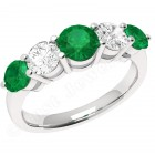 JEM303W - 18ct white gold  5 stone emerald and diamond eternity ring
