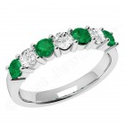 JEM336W - 18ct white gold 7 stone emerald and diamond eternity ring