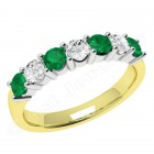 JEM336/9YW - 9ct yellow and white gold 7 stone emerald and diamond eternity ring