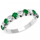JEM344W - 18ct white gold 11 stone emerald and diamond eternity ring