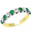 JEM344YW - 18ct yellow and white gold 11 stone emerald and diamond eternity ring