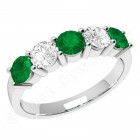 JEM350W - 18ct white gold 5 stone emerald and diamond eternity ring