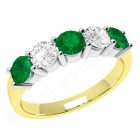 JEM350YW - 18ct yellow and white gold 5 stone emerald and diamond eternity ring