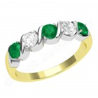 JEM367/9YW - 9ct yellow and white gold 5 stone emerald and diamond eternity ring