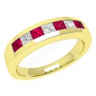 JER033Y - 18ct yellow gold ruby and diamond channel set 7 stone ring