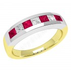 JER033YW - 18ct yellow and white gold ruby and diamond channel set 7 stone ring