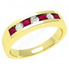 JER036/9Y - 9ct yellow gold 7 stone ruby and diamond ring