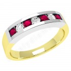 JER036YW - 18ct yellow and white gold 7 stone ruby and diamond ring