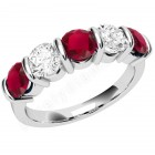 JER048W - 18ct white gold ruby and diamond bar set 5 stone ring