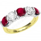 JER048YW - 18ct yellow and white gold ruby and diamond bar set 5 stone ring
