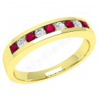 JER053/9Y - 9ct yellow gold 9 stone ruby and diamond ring
