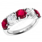 JER110W - 18ct white claw set ruby and diamond 5 stone ring