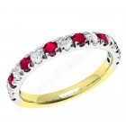 JER166YW - 18ct yellow and white gold ruby and diamond claw set 15 stone ring