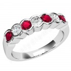 JER184/9W - 9ct white gold 7 stone ruby and diamond ring