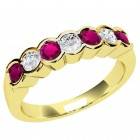 JER184/9Y - 9ct yellow gold 7 stone ruby and diamond ring