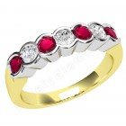JER184/9YW - 9ct yellow and white gold 7 stone ruby and diamond ring