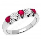 JER241W - 18ct white gold ring with 3 round rubies and 2 round brilliant diamonds