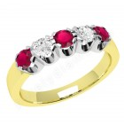 JER241YW - 18ct yellow and white gold ring with 3 round rubies and 2 round brilliant diamonds
