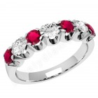 JER244W - 18ct white gold 7 stone ruby and diamond ring