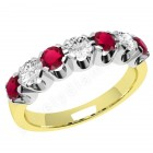 JER244YW - 18ct yellow and white gold 7 stone ruby and diamond ring