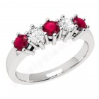 JER248W-18ct white gold 5 stone ruby and diamond ring