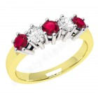 JER248YW-18ct yellow and white gold 5 stone ruby and diamond ring