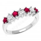 JER253W - 18ct  yellow and white gold 7 stone ruby and diamond ring