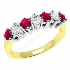 JER253/9YW - 9ct yellow and white gold 7 stone ruby and diamond ring