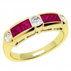 JER260Y - 18ct yellow gold ruby and diamond rub over set 7 stone ring