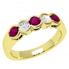 JER278/9Y - 9ct yellow gold 5 stone ruby and diamond ring