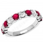 JER302W - 18ct white gold 11 stone ruby and diamond ring