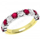 JER302/9YW - 9ct yellow and white gold 11 stone ruby and diamond ring
