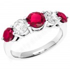 JER303W - 18ct white gold 5 stone ruby and diamond ring