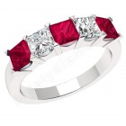 JER310W - 18ct white gold ruby and diamond claw set 5 stone