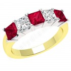 JER310YW - 18ct yellow and white gold ruby and diamond claw set 5 stone ring