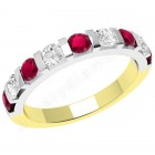 JER327YW - 18ct yellow and white gold ruby and diamond bar set 9 stone ring