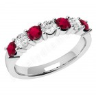 JER336W - 18ct white gold 7 stone ruby and diamond ring