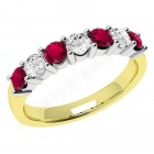 JER336/9YW - 9ct yellow and white gold 7 stone ruby and diamond ring